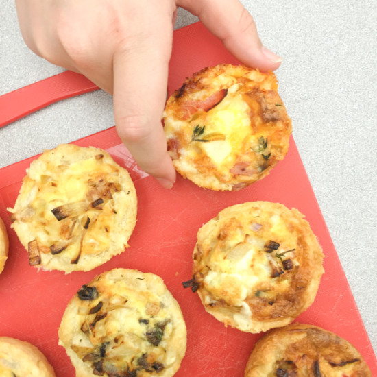 Hard to resist blue cheese, ham and pear quiches on eatlivetravelwrite.com