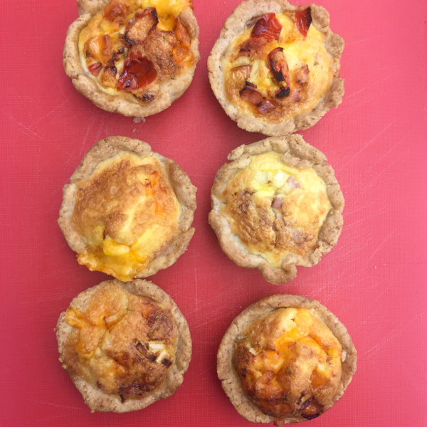 Mini quiches with whole wheat crust on eatlivetravelwrite.com