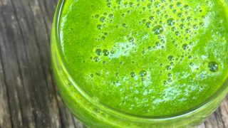Kale, spinach, pear, banana and celery green smoothie