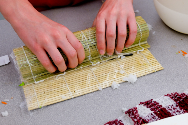 Using a bamboo sushi mat with John Placko on eatlivetravelwrite.com
