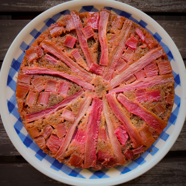 Simple Upside Down Rhubarb Cake Recipe Eat Live Travel Write