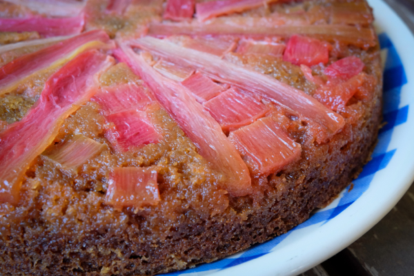 Upside down rhubarb cake with 1847 whole wheat blend on eatlivetravelwrite.com