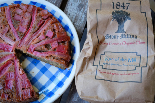1847 Stone Milling whole wheat flour baked into rhubarb cake on eatlivetravelwrite.com