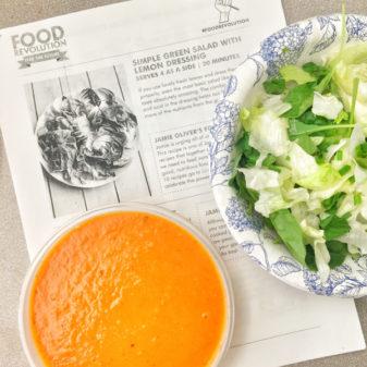 Kids making Jamie Oliver Food Revolution salad and dressing with tomato soup on eatlivetravelwrite.com