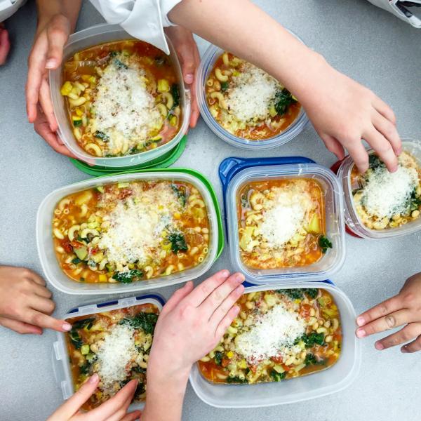 Kids make Jamie Oliver Food Revolution minestrone on eatlivetravelwrite.com