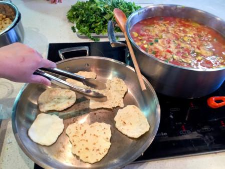 Grilling flatbreads for Food Revolution Day on eatlivetravelwrite.com