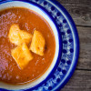 Muir Glen fire roasted tomato soup with cheesy croutons on eatlivetravelwrite.com