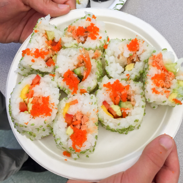 A plate of sushi rolls with John Placko on eatlivetravelwrite.com