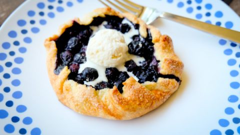 Mini blueberry galette with ice cream on eatlivetravelwrite.com