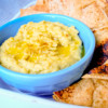 Avocado hummus with oven baked pita chips on eatlivetravelwrite.com