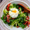 Big chopped salad with lemon poppyseed vinaigrette with poached egg on eatlivetravelwrite.com