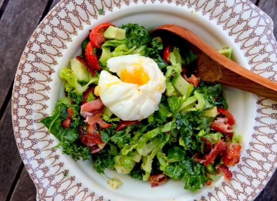 Big chopped salad with lemon poppyseed vinaigrette with poached egg on eatlivetravelwrite.com
