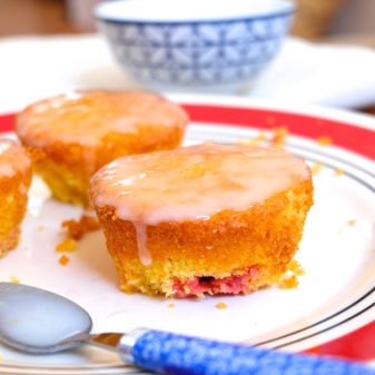 Cornmeal and berry cupcakes from Baking Chez Moi on eatlivetravelwrite.com