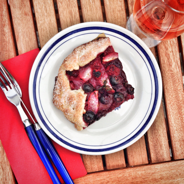 Slice of Dorie Greenspan summer market galette on eatlivetravelwrite.com
