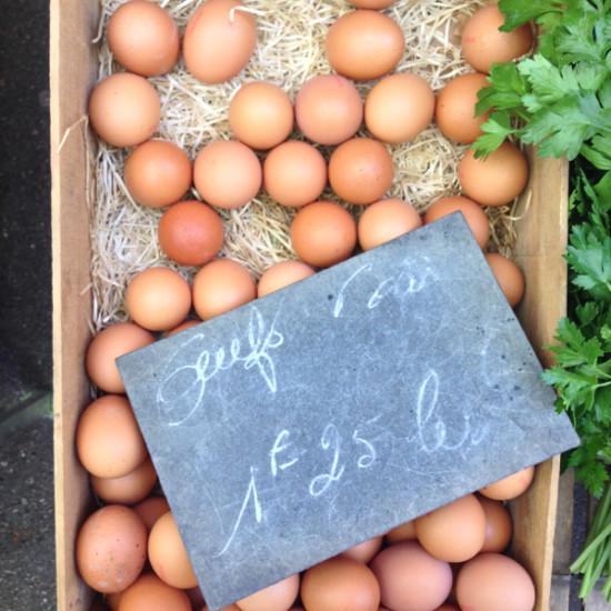 Eggs at a French market on eatlivetravelwrite.com