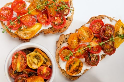 Cherry tomato crostini with goat cheese spread from My Paris Kitchen on eatlivetravelwrite.com