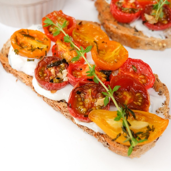 Goat cheese and cherry tomato crostini from My Paris Kitchen on eatlivetravelwrite.com