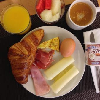 Breakfast at Hotel Roncesvalles on the Camino on eatlivetravelwrite.com