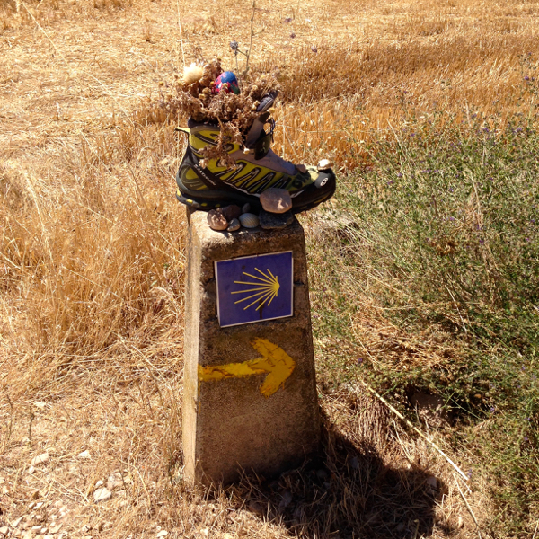 Lost boot on the Camino on eatlivetravelwrite.com