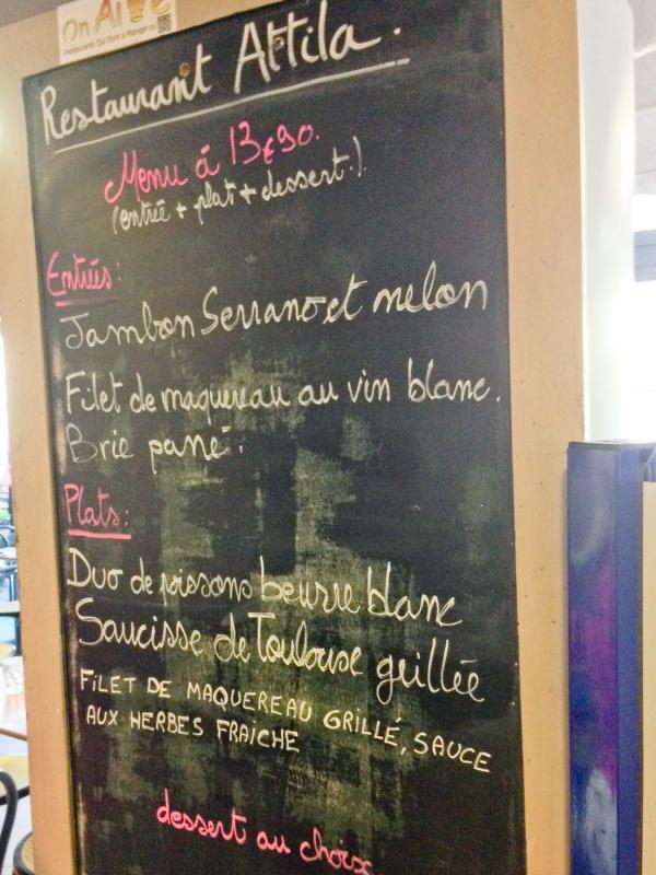 Restaurant menu at Marché Victor Hugo on eatlivetravelwrite.com