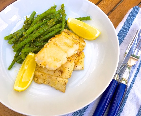 Pan fried cod with pistachio green beans by Mardi MIchels eatlivetravelwrite.com