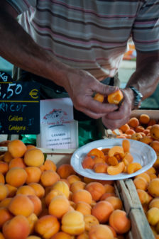 Apricot sampling at Nerac market on eatlivetravelwrite.com