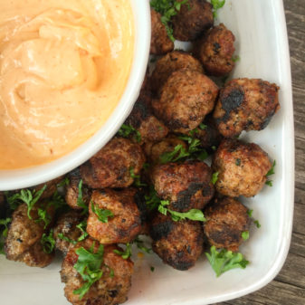 Spiced meatballs with harissa mayo from My Paris Kitchen on eatlivetravelwrite.com
