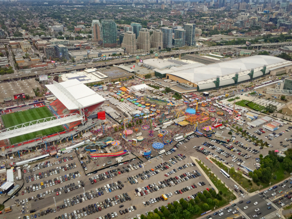 View of the CNE in Toronto from the air with Toronto Heli Tours on eatlivetravelwrite.com