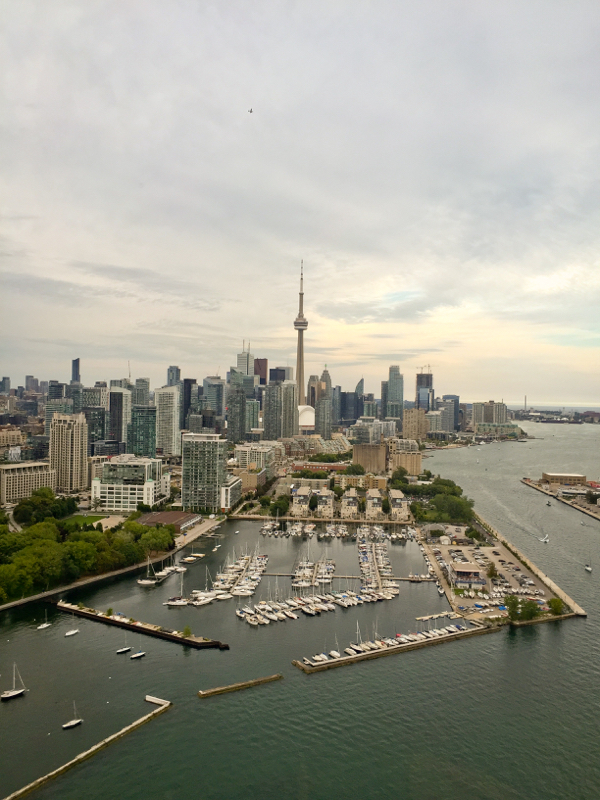 Approaching Billy Bishop airport and the CN Tower with Toronto Heli Tours on eatlivetravelwrite.com