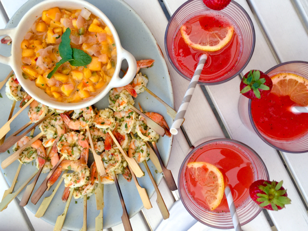 Ina Garten Grilled Herb Shrimp with Mango Salsa on eatlivetravelwrite.com