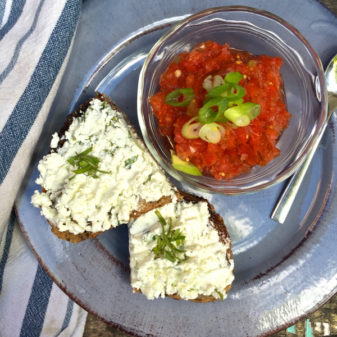 Gazpacho with herbed goat cheese toasts from My Paris Kitchen on eatlivetravelwrite.com