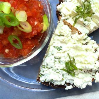 David Lebovitz Gazpacho with herbed goat cheese toasts on eatlivetravelwrite.com
