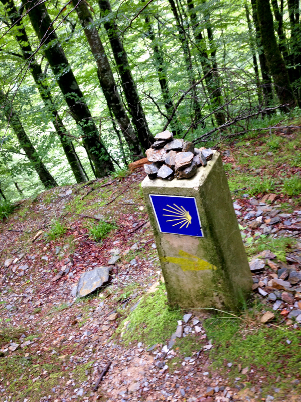 Finding the waymarkers on the road to Roncesvalles on the Camino on eatlivetravelwrite.com