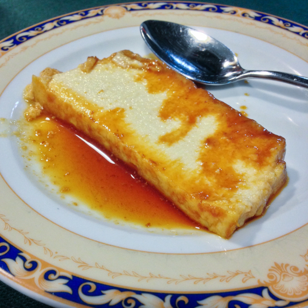 Flan at Hotel Roncesvalles on the Camino on eatlivetravelwrite.com