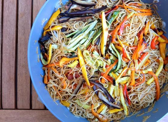 Oven baked vegetable noodle stir fry by Mardi Michels eatlivetravelwrite.com