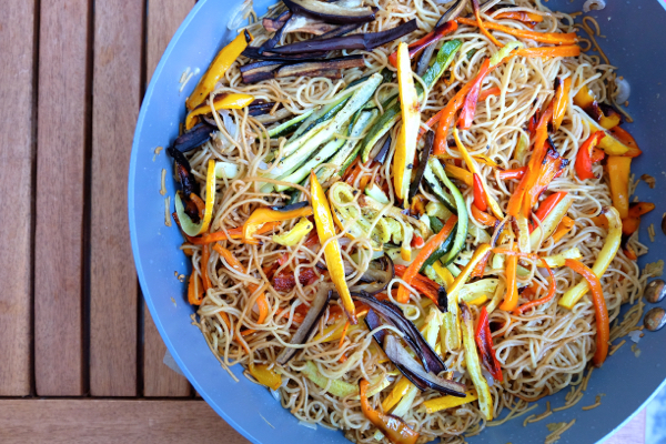 Oven baked vegetable noodle stir fry by Mardi Michels eatlivetravelwrite.com