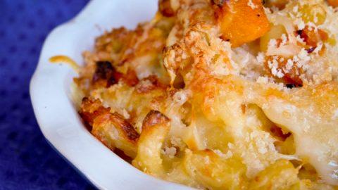 Mac n cheese with roasted butternut squash on eatlivetravelwrite.com