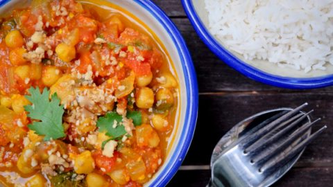 Chickpea mushroom and spinach curry on eatlivetravelwrite.com