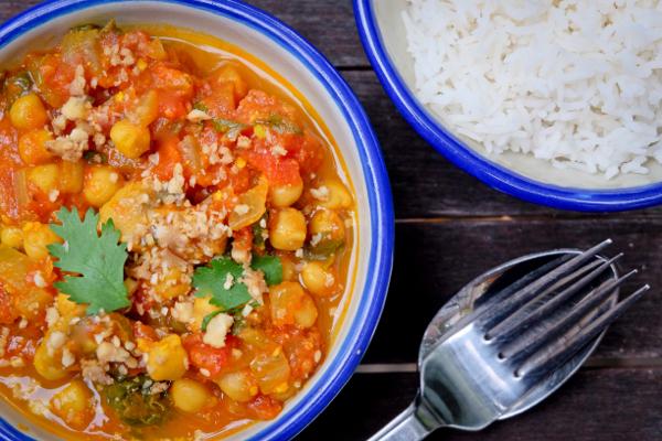 Chickpea mushroom and spinach curry on eatlivetravelwrite.com