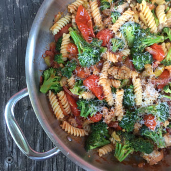 Jamie Oliver sausage pasta with broccoli, chili and sweet tomatoes on eatlivetravelwrite.com