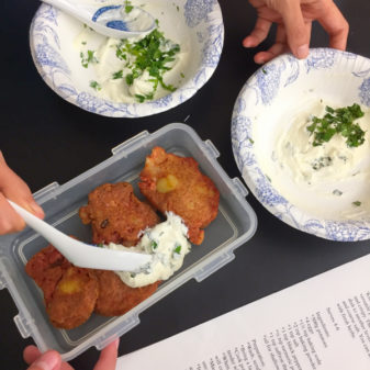Assembling saffron potato fritters in the Persian manner on eatlivetravelwrite.com