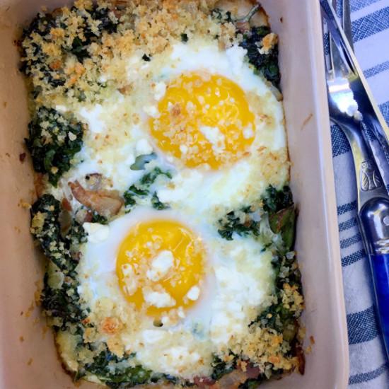 David Lebovitz Baked Eggs with Kale My Paris Kitchen on eatlivetravelwrite.com