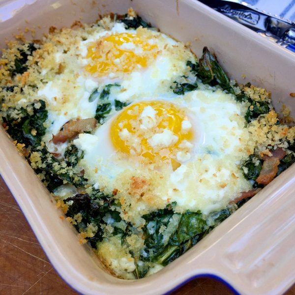 Baked eggs with kale from My Paris Kitchen on eatlivetravelwrite.com