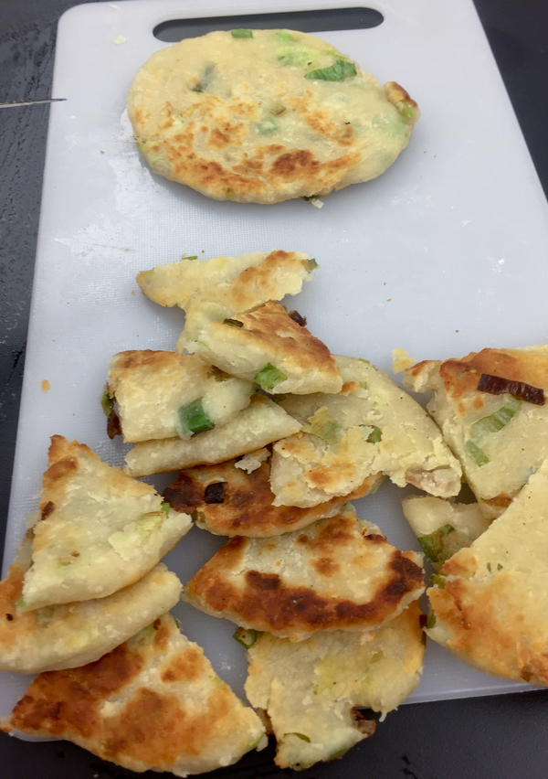 Scallion pancake ready to enjoy on eatlivetravelwrite.com