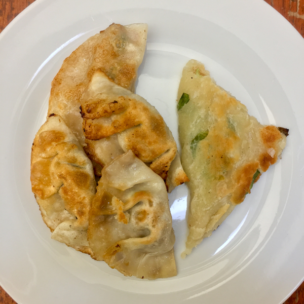 Dumplings and scallion pancake on eatlivetravelwrite.com