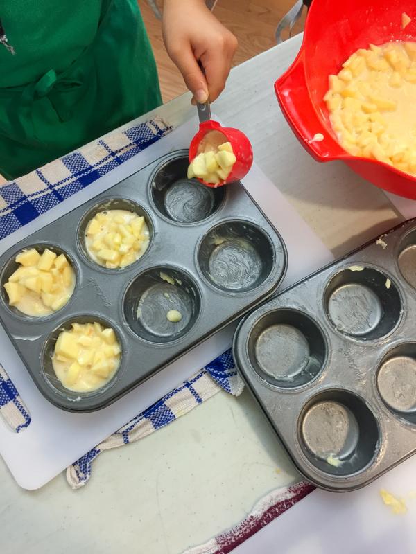 Making Dorie Greenspan custardy apple squares in muffin tins on eatlivetravelwrite.com