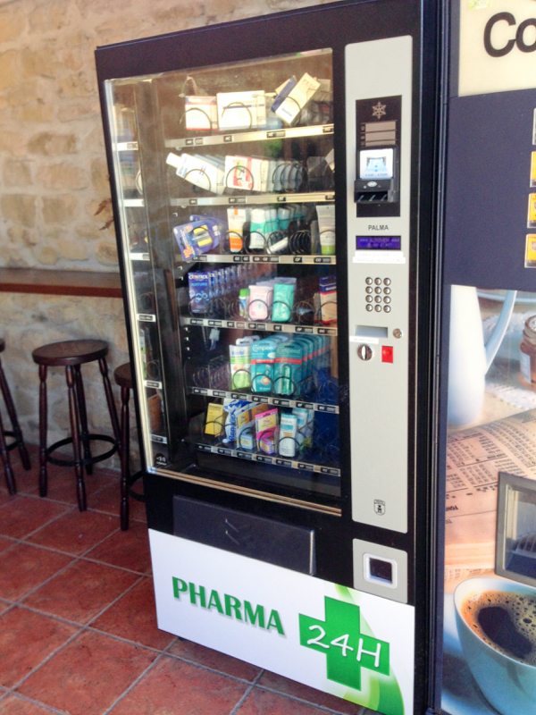 Medical vending machine in Uterga walking the Camino de Santiago on eatlivetravelwrite.com