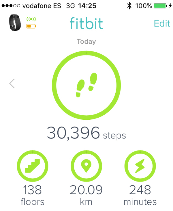Fitbit steps Day 5 walking the Camino de Santiago on eatlivetravelwrite.com