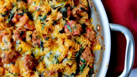 Cheesy one pan Barilla Pronto rotini with spicy sausage and spinach on eatlivetravelwrite.com