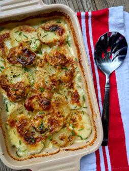 David Lebovitz scalloped potatoes with blue cheese and roasted garlic on eatlivetravelwrite.com